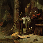 Part 4 - Kalf, Willem (1616–1693) - Rural interior, in the background woman by the fireplace