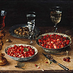 Still Life with Cherries and Strawberries in Chinese porcelain bowls, Osias Beert