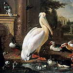 Melchior de Hondecoeter - Pelican and other water birds in a park landscape, Part 4