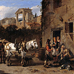 Nicolaes Berchem - Stop at the inn, Part 4