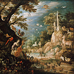 Roelant Savery - Landscape with Orpheus and the animals, Part 4
