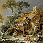 Boucher, Francois - Landscape with cottage, Part 4