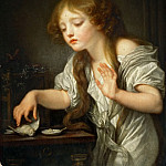 Jean-Baptiste Greuze -- The Dead Bird, or A Child Hesitating to Touch a Bird, Fearing That It Might Be Dead, Part 4 Louvre