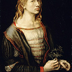 Portrait of the artist holding a thistle, Albrecht Dürer