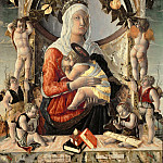 Marco Zoppo -- Madonna and Child surrounded by eight angels, Part 4 Louvre