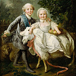 François Hubert Drouais -- The Count d'Artois and Madame Clotilde, Part 4 Louvre