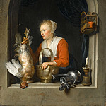 Gerrit Dou -- Woman hanging a rooster at her window, also called the Dutch housewife, Part 4 Louvre