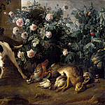Alexandre-François Desportes -- Dog guarding game near a rose bush, Part 4 Louvre