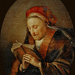 Gerrit Dou -- Old Woman Praying , called Rembrandt's Mother, Part 4 Louvre