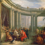 A concert in the circular colonnade of Doric style., Giovanni Paolo Panini