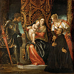 Paolo Veronese -- Saint Mary and Jesus between Saint Geore and Saint Justine with a Kneeling Benedictine Monk, Part 4 Louvre