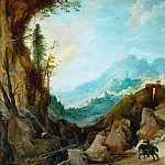 Joos de Momper the younger -- Mountain Landscape with Bridge and Four Riders, Part 4 Louvre