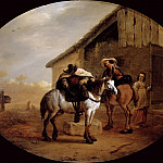 Pieter van Laer; called Il Bambocci -- The Departure from the Inn, Part 4 Louvre
