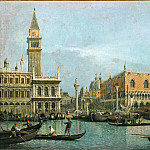Francesco Guardi -- Canal of San Marco with the Piazza San Marco, Part 4 Louvre