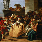 Giovanni Domenico Tiepolo -- Carnival Scene, or The Minuet, Part 4 Louvre
