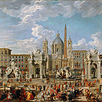 Part 4 Louvre - Giovanni Paolo Panini -- Preparations for fireworks and decoration for the festival given in honor of the birth of Louis, the Dauphin of France, in the Piazza Navona