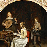 Part 4 Louvre - Gerard Terborch II -- The concert: singer and theorbé lute player