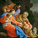 Simon Vouet -- The Holy Family with Saint Elizabeth and the young Saint John, Part 4 Louvre