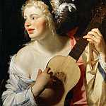 Gerrit van Honthorst -- Woman Playing the Guitar , Part 4 Louvre