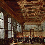 Francesco Guardi -- The Doge of Venice in the Sala del Collegio, Part 4 Louvre