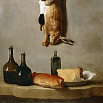 Part 4 Louvre - Jean-Baptiste Oudry -- Still-life (hare, duck, bottles, bread, and cheese)