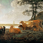 Aelbert Cuyp -- Landscape with Shepherds and Flock, near Rhenen, Part 4 Louvre
