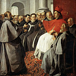 Francisco de Zurbarán -- Saint Bonaventure at the church-council of Lyon, Part 4 Louvre