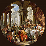 Part 4 Louvre - Giovanni Paolo Panini -- Feast held under a portico of the Ionic order