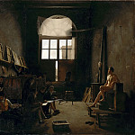 Léon Mathieu Cochereau -- Interior of the studio of Jacques-Louis David, Part 4 Louvre