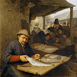 Adriaen van Ostade -- The Fish Market, Part 4 Louvre