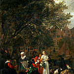 Gabriel Metsu -- Vegetable Market in Amsterdam, Part 4 Louvre