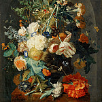 Jan van Huysum -- Vase of Flowers in a Niche, Part 4 Louvre