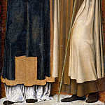 Carlo Braccesco -- Annunciation Triptych; detail of right panel with Saint Stephen and a martyred Carmelite, Part 4 Louvre