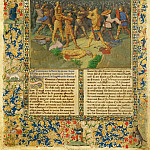 A battle between Romans and Carthaginians, probably the battle of Cannae (). Page from a manuscript Ancient history to Caesar and the deeds of the Romans much of which has been lost. 1470-1475 Parchment, 44, 8 x 33, 4 cm. R.F. 7251, Jean Fouquet