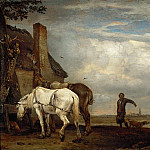 Paulus Potter -- Two Work Horses in Front of a Farmhouse, Part 4 Louvre