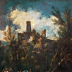 Alessandro Magnasco -- The Muleteer, or Landscape with Castle, Part 4 Louvre