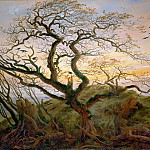 Tree with Ravens and Prehistoric Tumulus on the Baltic Coast, Caspar David Friedrich