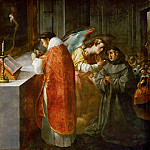 Francisco Herrera the Elder -- Saint Bonaventure Receiving Communion From an Angel, Part 4 Louvre