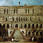 Francesco Guardi -- Coronation of the Doge on the Stairs of the Giants of the Ducal Palace of Venice, Part 4 Louvre