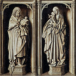 Grisaille Diptych, with Saint John the Baptist and the Virgin and Child [front], Jan van Eyck