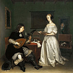 Gerard Terborch II -- The duo: singer and theorbé-lute player, Part 4 Louvre
