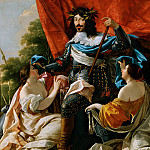 Simon Vouet -- Louis XIII between two female figures symbolizing France and Navarre, Part 4 Louvre