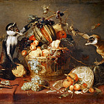 Two monkeys piling a basket with fruit, Frans Snyders