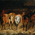 Théodore Géricault, completed by Pierre-François Lehoux -- Five Horses Viewed from the Back in a Stable , Part 4 Louvre
