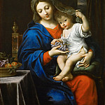 Pierre Mignard I -- Madonna with grapes, Part 4 Louvre