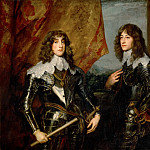 Part 4 Louvre - Anthony van Dyck -- Prince Charles Louis (1617-1680), Elector Patatine, and Prince Rupert (1619-1682) (Double portrait of the Palatine Princes Karl Ludwig I, elector (1617-1680) and his brother Robert (1619-1682)