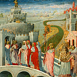 Giovanni di Paolo -- Procession of Saint Gregory at the Castel Sant'Angelo, Rome, Part 4 Louvre