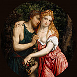 Representation of a mythological Couple (Daphnis and Chloë; Angelica and Medoro; Vertumnus and Pomona ?), Paris Bordone