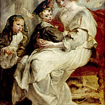 Peter Paul Rubens -- Hélène Fourment with her Children Clara-Johanna and Frans Rubens, Part 4 Louvre