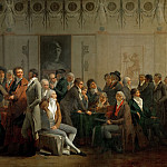 Louis Léopold Boilly -- Assembly of Artists in the Studio of Isabey, Part 4 Louvre